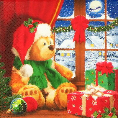 4x Paper Napkins for Decoupage Decopatch Christmas Teddy