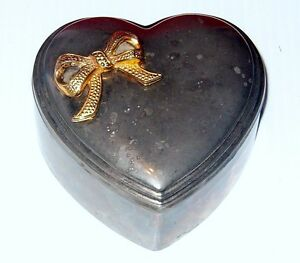 STORAGE LOCKER FINDSilver plated heart shaped Jewelry box Gold