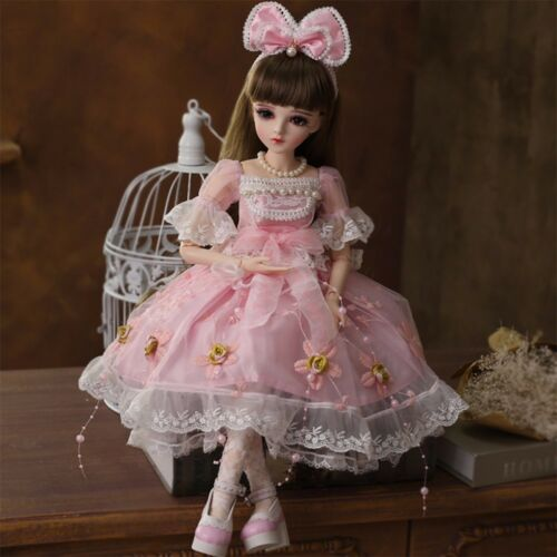 """22/"""" 1//3 BJD Doll Ball Jointed Girl Gift with Face Make up Removable Eyes Outfits"""