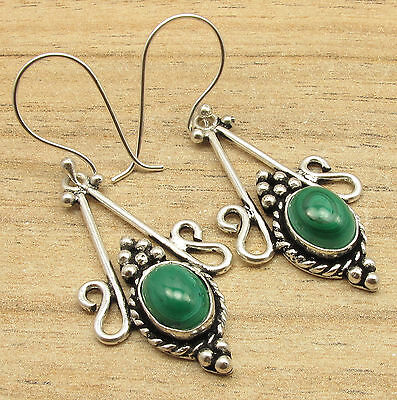 EARRINGS ETHNIC HANDMADE JEWELRY !! Natural MALACHITE Gems ! 925 Silver Plated