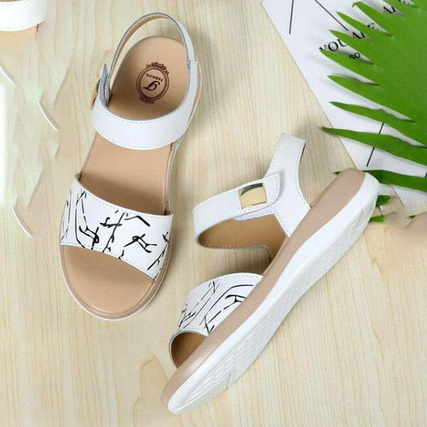Sandales Sabot Compensé 3 cm blanc noir Confortable Cuir Synthetique Élégant
