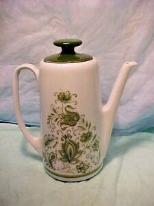 Vintage-COFFEE-TEA-POT-BAREUTHER-WALDSASSEN-BAVARIA-GERMANY-282-GREEN-Floral