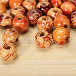 100 Pcs 10mm Mixed Charm Round Wood Loose Beads Popular for Jewelry Making DIY s