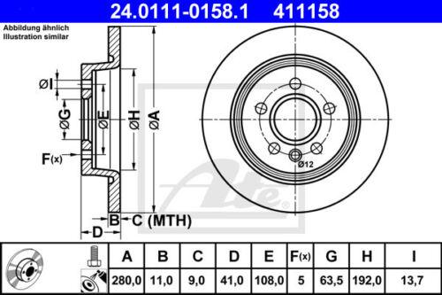 ATE Bremsscheiben Beläge Hinterachse DA/_, HCP HA für FORD FOCUS II