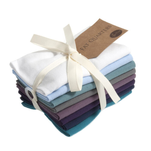 1x Fat Quarter Bundle Cotton 8x54cmx45cm Plain Iris Sewing Craft Tool