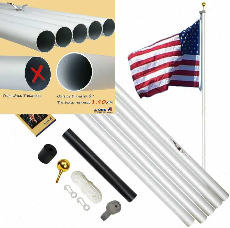 A-ONE 20FT Extra Thick Sectional Flag Pole, Heavy Duty 20ft