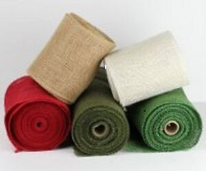 "4"" Burlap Ribbon 10 Yard Roll Finished Edges (5 colors)"