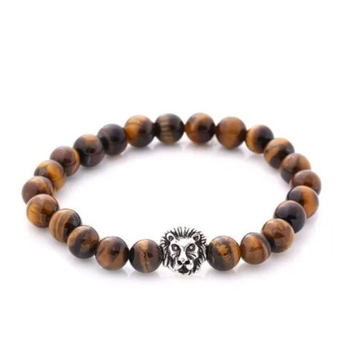 Men/'s Cool Natural Stylish Spot Stone Beaded Stretch Lion Head Charm BraceletT1@