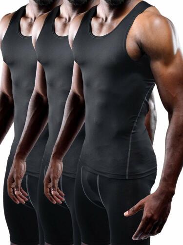 Neleus Men/'s 3 Pack Athletic Compression Under Base Layer Sport Tank Top