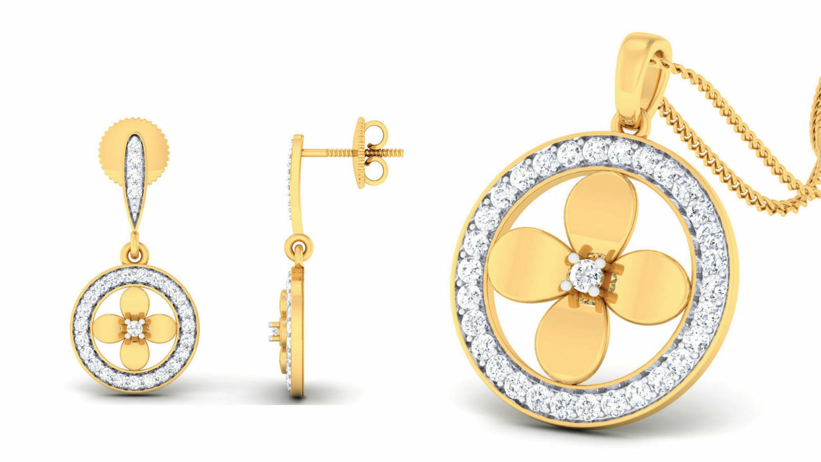 Pave 1.09 Cts Natural Diamonds Pendant Earrings Set In Solid Certified 14K gold