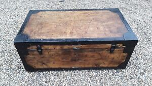 Pine Edwardian C1910 Orderly Antique Steamer Trunk Chest Metal Lined Est English