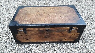 English Est Chest Edwardian C1910 Relieving Rheumatism And Cold Trend Mark Antique Steamer Trunk Metal Lined Pine