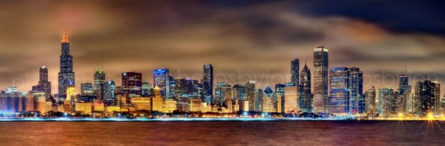 Chicago Skyline 2015 at NIGHT COLOR Photo Print Poster BIG 12x36