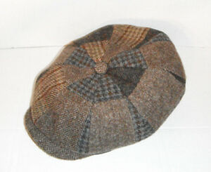Image is loading STETSON-stw230-wool-patchwork-NEWSBOY-CAP-HAT-brown- a0a97ec32d2f