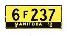 AUTHENTIC CANADA 1953 MANITOBA MINI MINIATURE CEREAL LICENSE PLATE.
