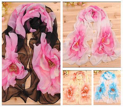 Fashion Style Soft Lady's Wrap Shawl Stole Chiffon Scarf big Begonia Floral