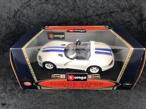 BBurago-SPA-1993-Dodge-Viper-RT-10-1-24-DieCast-White-w-Blue-Stripes