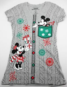 Disney Parks Mickey Minnie Mouse Christmas Sweater Gray Womens T
