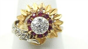 Vintage-Estate-14k-Yellow-Gold-Red-Spinel-Diamond-Flower-Cluster-Ring-68-TCW