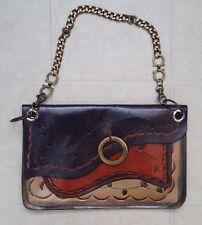 Handmade Tooled Leather Brown Tan Pouch Clutch Handbag Bag Floral Boho Hippie
