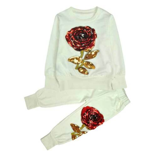 2PCS NWT Mother /& Daughter Casual outfits paillette Rose tops+pants clothes set
