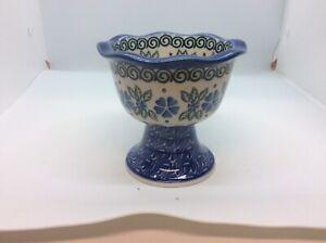 Vintage-Ceramika-Artystyczna-Polish-Pottery-Pedestal-Bowl
