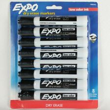 Expo Low Odor Ink Black Dry Erase Markers Chisel Tip 8 Count New