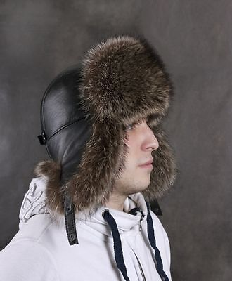 Raccoon Full Natural Real Fur Hat Chapka Shapka Ushanka Men