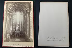 France-Paris-Sainte-Chapelle-Vintage-albumen-print-carte-cabinet-Tirage-al