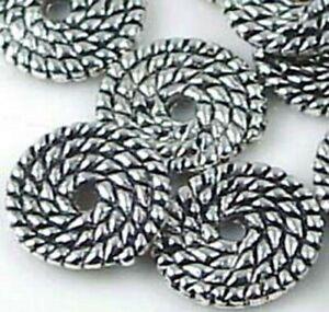 12 Ammonites Antique Silver Pewter Spiral spire Disc Beads 11mm