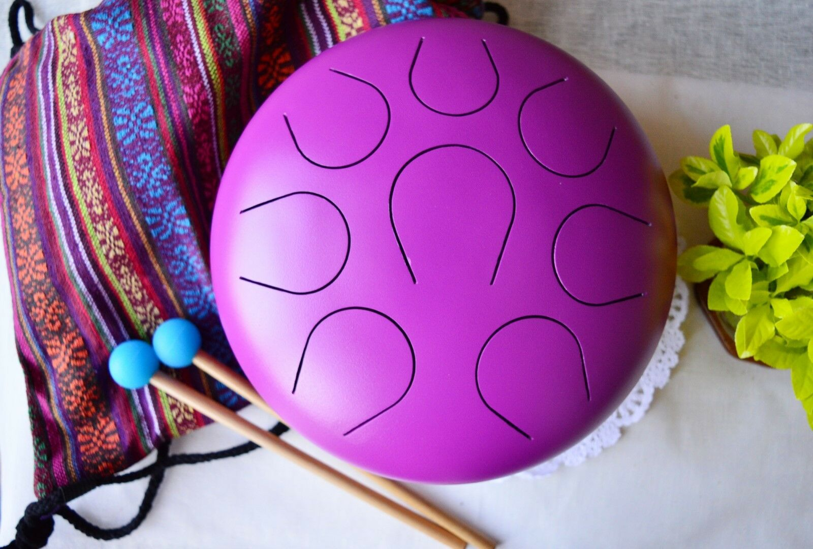 WuYou 10in Steel Tongue Drum Handpan Percussion Drum Set for Theropy Meditation