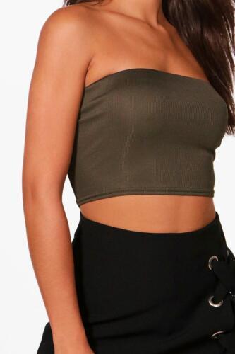 Womens Plain BoobTube Strapless Bandeau Stretch Summer Vest Boobtube Top Bra
