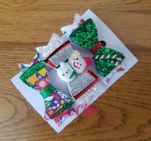 "CHRISTMAS Handmade set of 3 christmas mix glitter Hair Bow Clips 2.5/"""