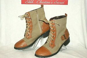 TWISTED-Womens-Ankle-Boots-Taupe-Brown-Canvas-Combat-034-Trooper-13-034-Sz-9-G-VG