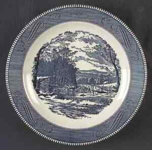 Royal-USA-CURRIER-amp-IVES-BLUE-Chop-Plate-Round-Platter-5979124