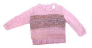 TRICOT-FAIT-MAIN-PULL-MANCHES-LONGUES-ROSE-TAILLE-4-ANS