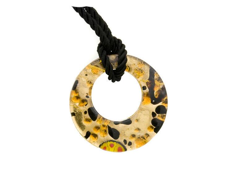 Pendentif Donut en Verre de Murano Venise et Feuille d' Or Peterandclo  7293