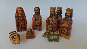 """9 pc. Guatemala wood carved nativity nacimiento creche up to 5"""" tall"""
