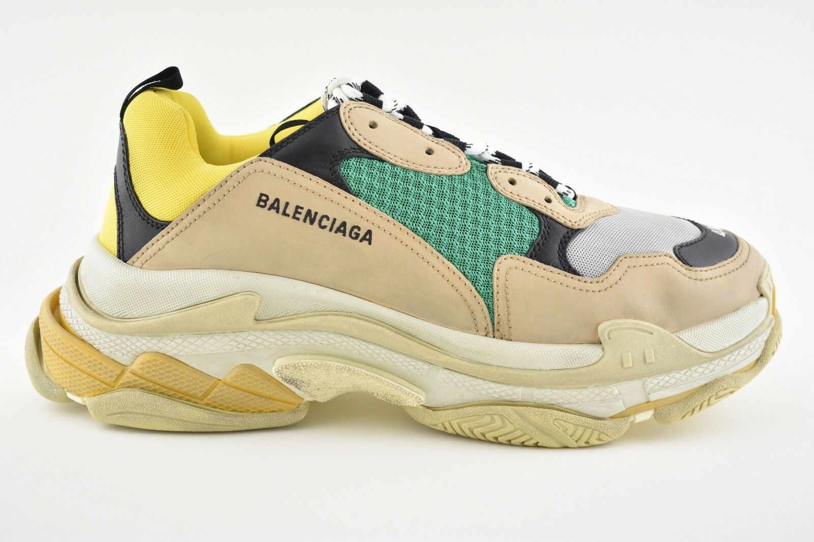 NIB Balenciaga Triple S Beige Green Yellow Speed Flat Sneaker Trainer 44 Men 11