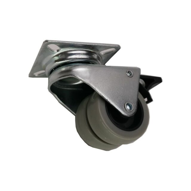 Doppel-Lenkrolle Möbelrolle Ø 50 mm Industrierollen mit Bremse bis 70 kg