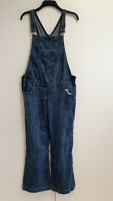 Contemplative Womens Mothercare Moda Blue Full Or 3/4 Denim Dungarees Uk L 12 W30-32 L30 Less Expensive