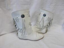 Vintage Women'S White Leather Boots With Fringe - Size 7 - Made In U.S.A.