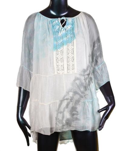 ITALY Damen Tunika  Hemd Bluse Vintage Shirt Top 36 38 40 42 Sommer 2017 M2