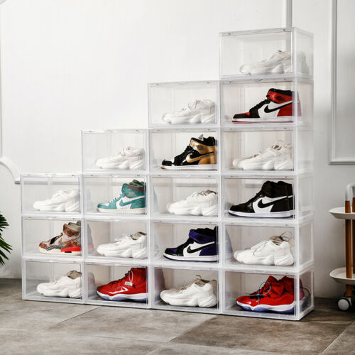 magnetic drop side shoe box storage containers sneaker storage shoe storage box
