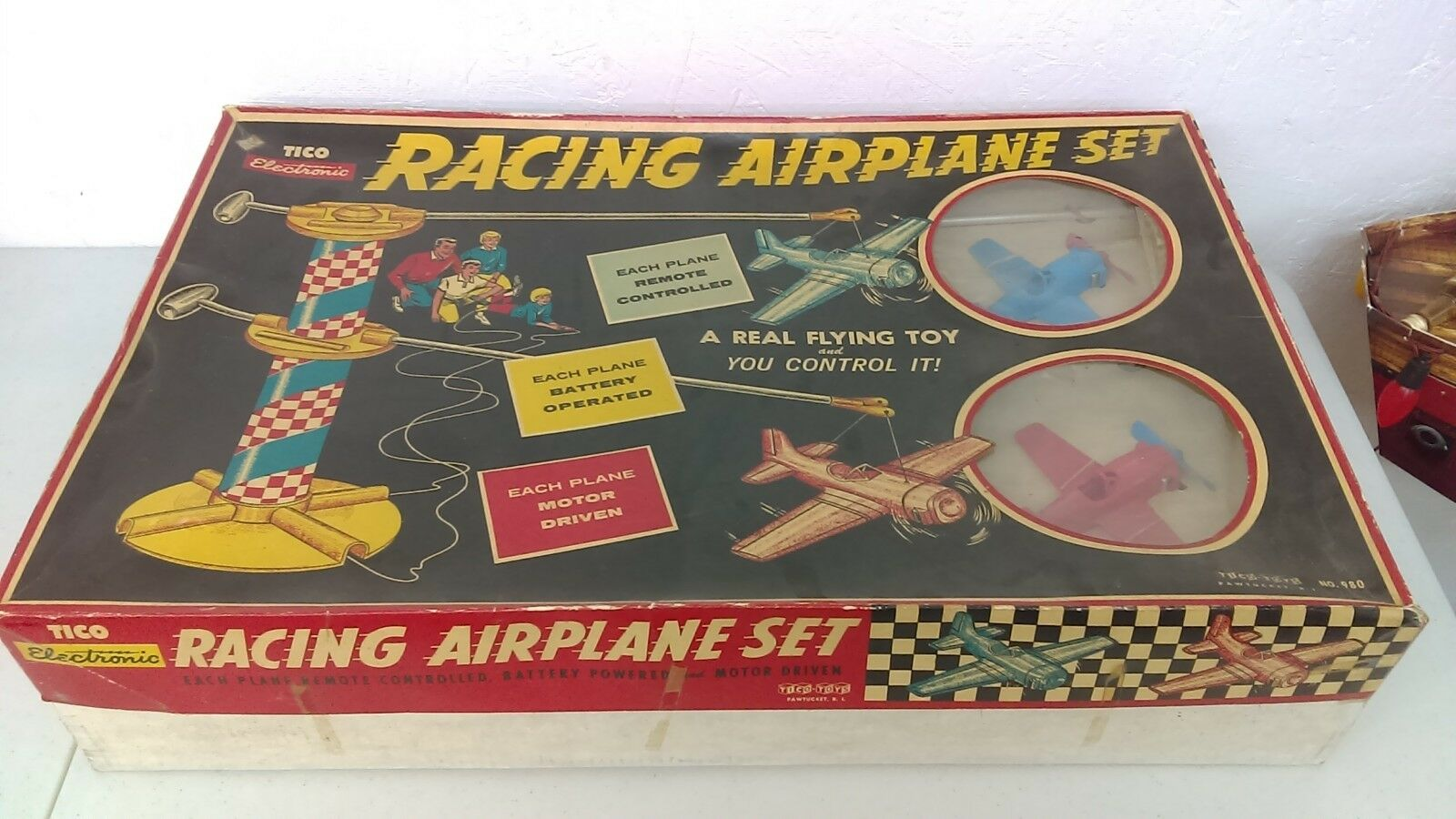 1960's Tico Electronic Battery Operated Airplane Racing Set New Old Stock MIB