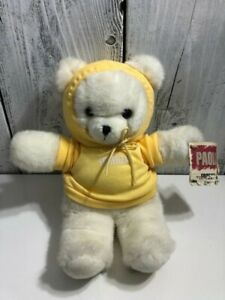 1994-Vintage-Applause-Forenza-Paolo-Bunch-Plush-Bear-White-Yellow-Hoodie-Shirt