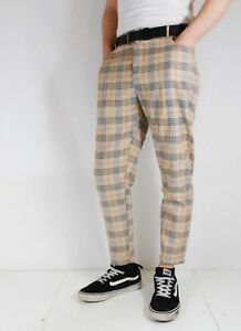 Mens Bespoke Slim Fit Tartan Check Sta Press Style Trousers 60s Mod ... 93e854453