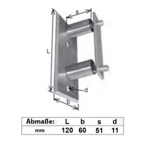 Edelstahl Wandanker Wandhalter Pfostenhalter 120x60mm Anbau flach AISI 304 V2A