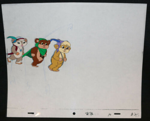 Star Wars Cartoon Painted Animation Cel Three Ewoks Walking E1B10 10 B2