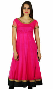 Bimba-Women-Flaired-Net-Anarkali-Dress-Solid-Magenta-Kurta-Kurti-Indian-Party